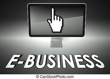 e-commerce, écran, e-affaires, icône, main