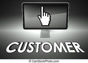 e-commerce, écran, icône, client, main