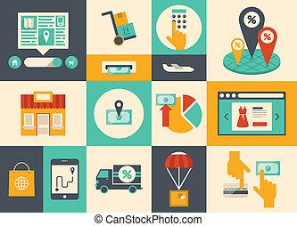 e-commerce, és, online bevásárlás, ikonok