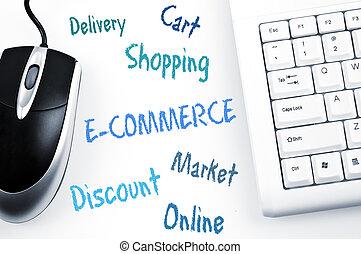 e-commerce , σκευωρία , ηλεκτρονικός υπολογιστής , λέξη , πληκτρολόγιο