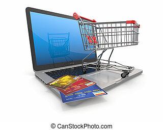 e-commerce., 쇼핑 카트, 와..., 신용 카드, 통하고 있는, 휴대용 퍼스널 컴퓨터