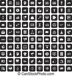 e-commerce, 100, állhatatos, fekete, ikonok