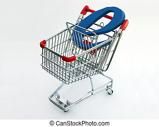 e-commerce, achats, (top, charrette, view)