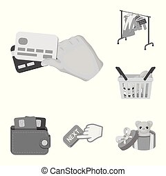 E-commerce and business monochrome icons in set collection for design. Buying and selling vector symbol stock web illustration.