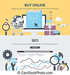 E-commerce and SEO flat banners - Set of flat design style...
