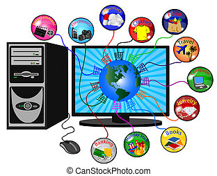 e-commerce background - illustration of a e-commerce...