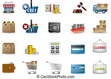 e-commerce, bevásárlás, ikonok