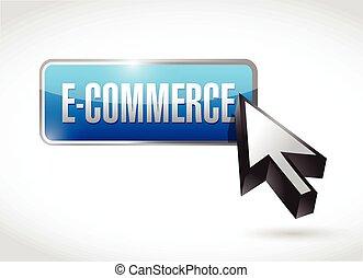 e-commerce blue business button ill