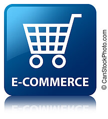 E-commerce blue square button