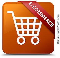 E-commerce brown square button red ribbon in corner
