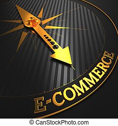 """E-Commerce - Business Background. Golden Compass Needle on a Black Field Pointing to the Word """"E-Commerce"""". 3D Render."""