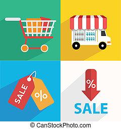 E-commerce. Business concept. Set icons