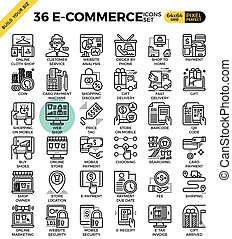 E-commerce business icons - E-commerce business outline...