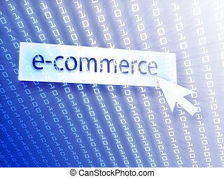 E-commerce button with clicking mouse icon, digital...