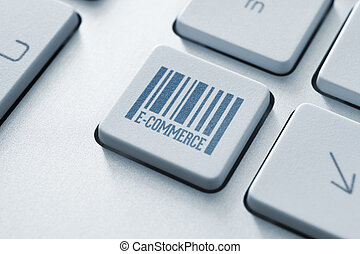 E-commerce button on a modern computer keyboard
