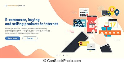 E-commerce, buying and selling products in internet