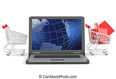 a shopping chart passing trough a laptop as concept for e-bussines isolated on white with clipping path