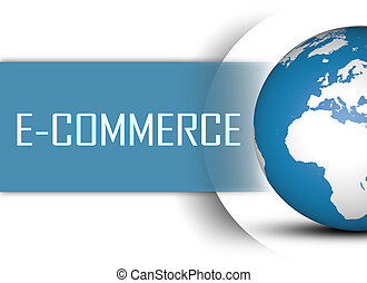 E-Commerce concept with globe on white background
