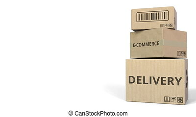 E-COMMERCE DELIVERY text on cartons, blank space for...