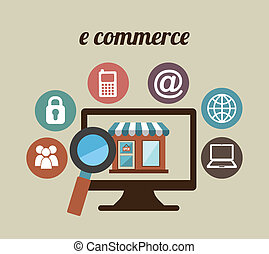 E-commerce design over beige background, vector illustration