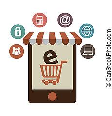 E commerce design - E-commerce design over white background,...