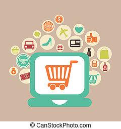 e-commerce design over pink background vector illustration