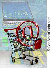 E-commerce on shopping basket.