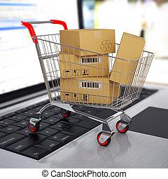 e-commerce., einkaufswagen, mit, pappkartons, auf, laptop.,...