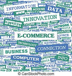 E-COMMERCE. Concept illustration. Graphic tag collection....