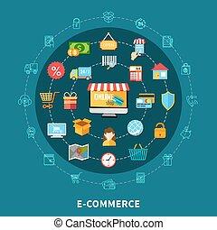 E Commerce Flat Composition