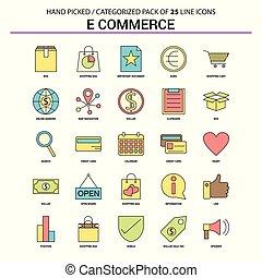 E-Commerce Flat Line Icon Set - Business Concept Icons Design