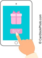 E commerce flat vector illustration. Man push buy button on tablet pc to purchase gift.