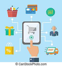e-commerce, fogalom, bevásárlás, kéz
