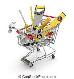 e-commerce., gereedschap, en, boodschappenwagentje