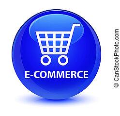E-commerce glassy blue round button