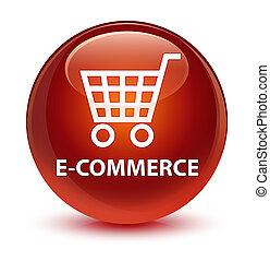 E-commerce glassy brown round button