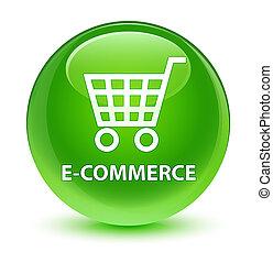 E-commerce glassy green round button