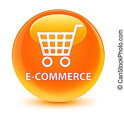 E-commerce glassy orange round button