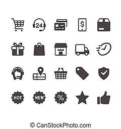 e-commerce, glyph, ikonok