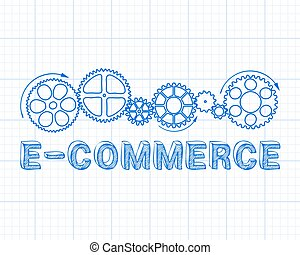E Commerce Graph Paper - E Commerce text with gear wheels ...