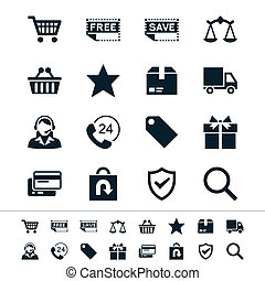 E-commerce icons - Simple vector icons. Clear and sharp....