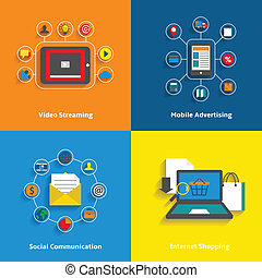 E-commerce decorative icons set of video streaming mobile advertising social networking and internet shopping elements vector illustration