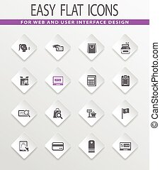 E-commerce icons set - E-commerce easy flat web icons for...