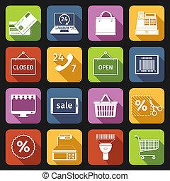 E-commerce icons set flat