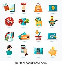 E-commerce Icons Set - E-commerce internet delivery online...