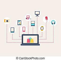 E-commerce icons surrounding a laptop screen with shopping...