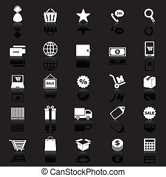E-commerce icons with reflect on black background