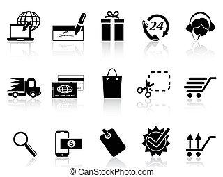 e-commerce, ikon, bevásárlás, fekete