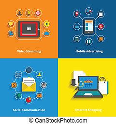 e-commerce, ikonok, állhatatos