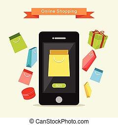 E-commerce Illustration. Online Shopping Illustration. Flat design.